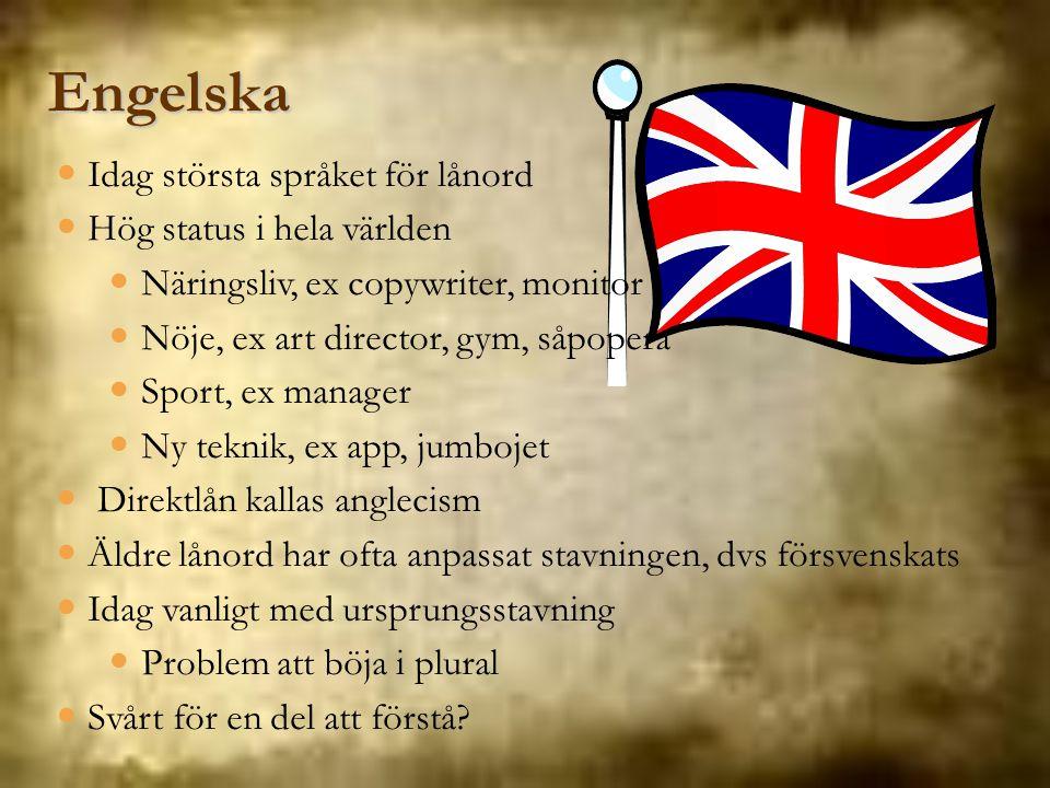 Engelska Idag största språket för lånord Hög status i hela världen Näringsliv, ex copywriter, monitor Nöje, ex art director, gym, såpopera Sport, ex m