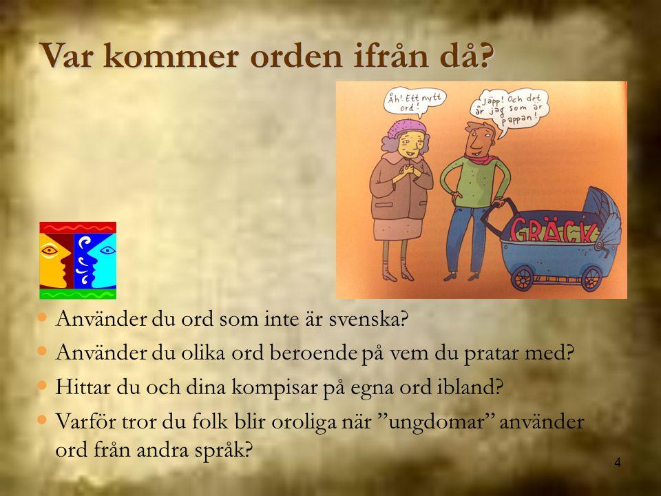 4 Var kommer orden ifrån då? Använder du ord som inte är svenska? Använder du olika ord beroende på vem du pratar med? Hittar du och dina kompisar på