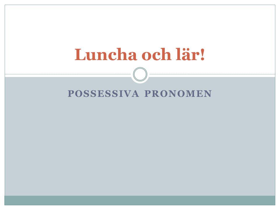 POSSESSIVA PRONOMEN Luncha och lär!