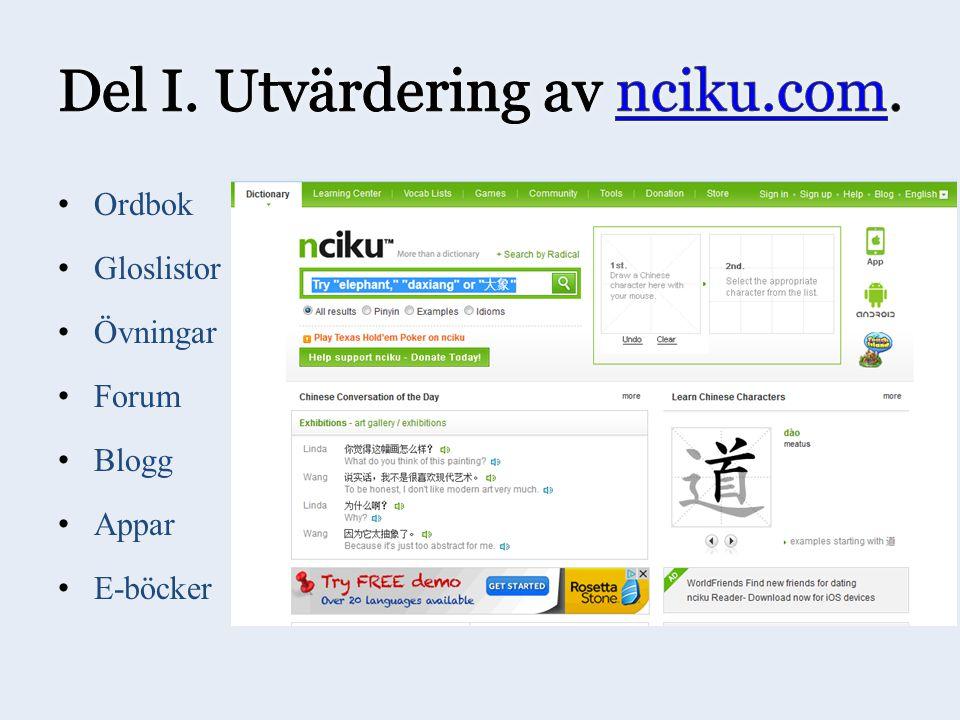 Ordbok Gloslistor Övningar Forum Blogg Appar E-böcker