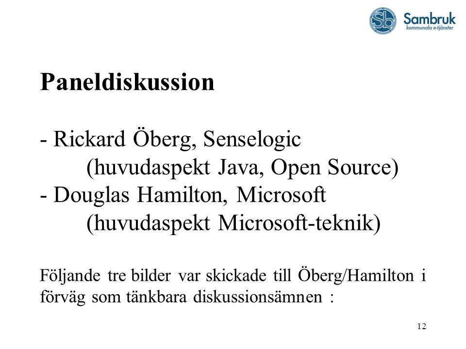 12 Paneldiskussion - Rickard Öberg, Senselogic (huvudaspekt Java, Open Source) - Douglas Hamilton, Microsoft (huvudaspekt Microsoft-teknik) Följande t