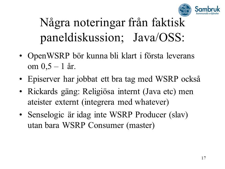 17 Några noteringar från faktisk paneldiskussion; Java/OSS: OpenWSRP bör kunna bli klart i första leverans om 0,5 – 1 år. Episerver har jobbat ett bra