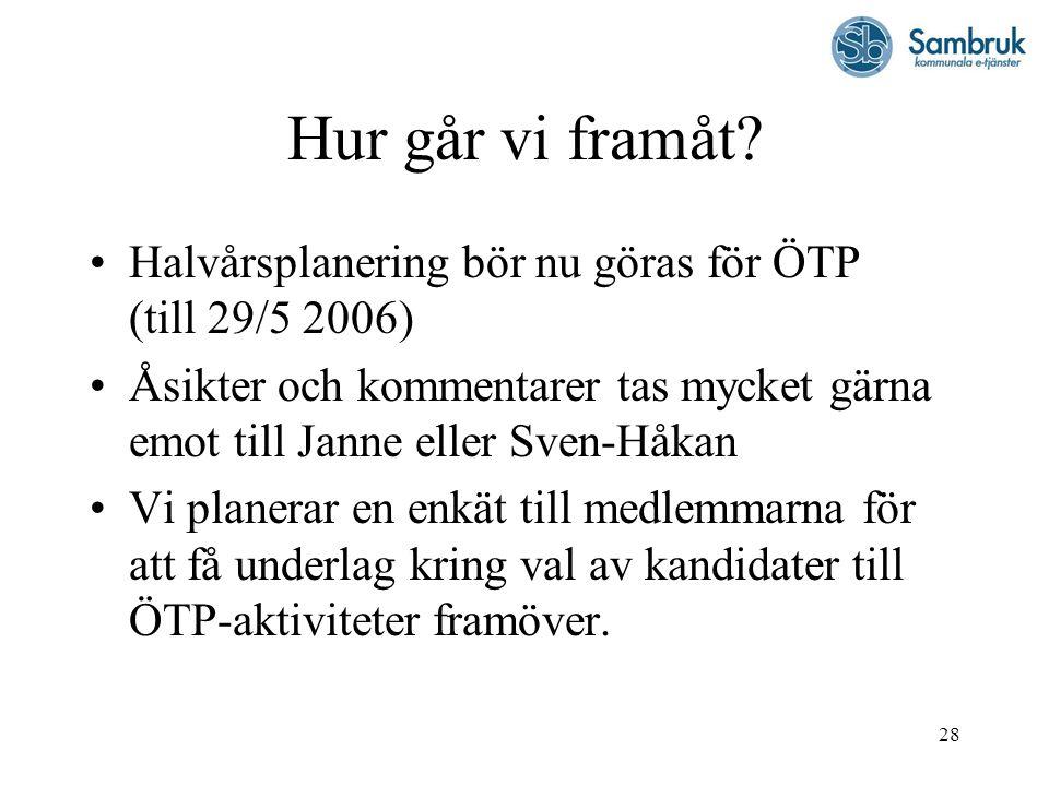 28 Hur går vi framåt? Halvårsplanering bör nu göras för ÖTP (till 29/5 2006) Åsikter och kommentarer tas mycket gärna emot till Janne eller Sven-Håkan