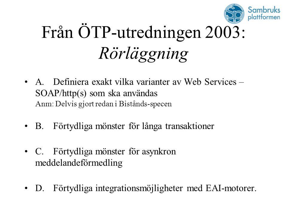 Från ÖTP-utredningen 2003: Rörläggning A.Definiera exakt vilka varianter av Web Services – SOAP/http(s) som ska användas Anm: Delvis gjort redan i Bistånds-specen B.Förtydliga mönster för långa transaktioner C.Förtydliga mönster för asynkron meddelandeförmedling D.Förtydliga integrationsmöjligheter med EAI-motorer.