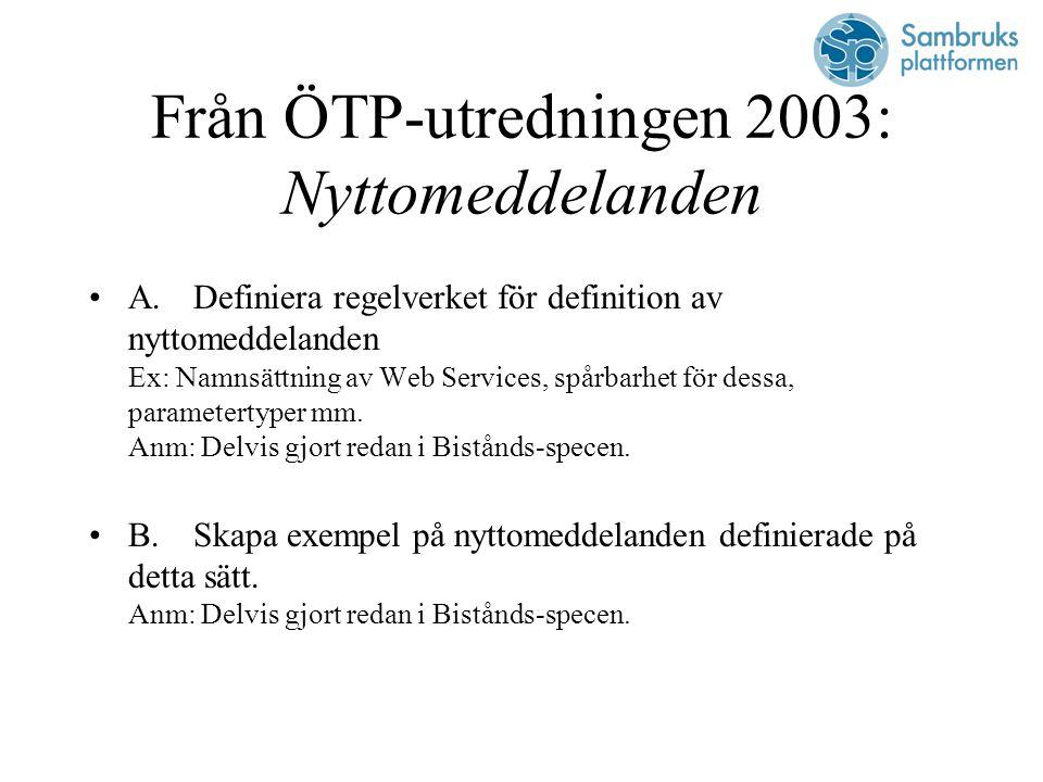 Från ÖTP-utredningen 2003: Nyttomeddelanden A.Definiera regelverket för definition av nyttomeddelanden Ex: Namnsättning av Web Services, spårbarhet för dessa, parametertyper mm.