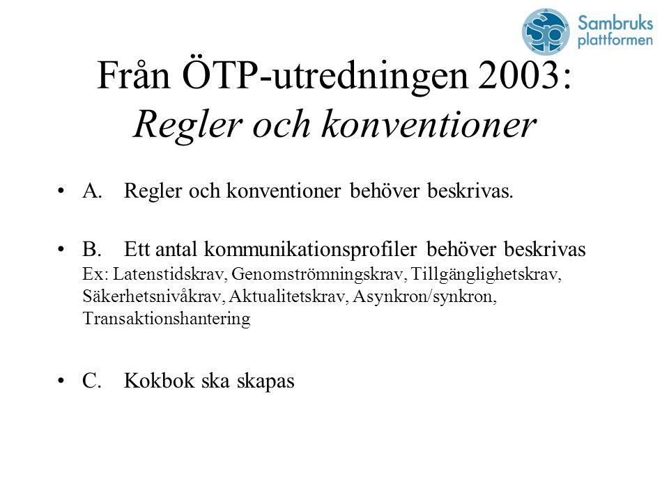 Från ÖTP-utredningen 2003: Regler och konventioner A.Regler och konventioner behöver beskrivas.