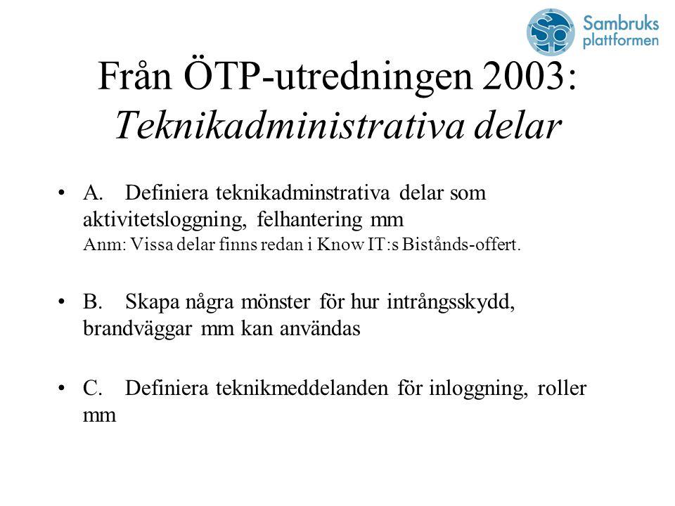 Från ÖTP-utredningen 2003: Teknikadministrativa delar A.Definiera teknikadminstrativa delar som aktivitetsloggning, felhantering mm Anm: Vissa delar finns redan i Know IT:s Bistånds-offert.