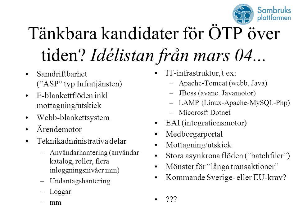 Tänkbara kandidater för ÖTP över tiden. Idélistan från mars 04...