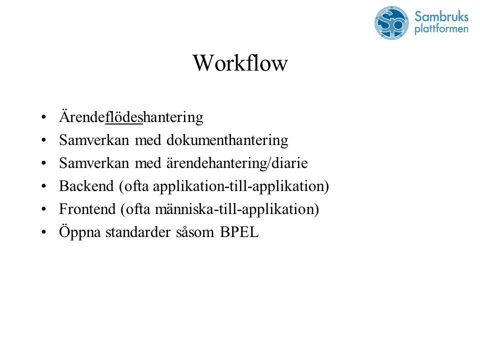Workflow Ärendeflödeshantering Samverkan med dokumenthantering Samverkan med ärendehantering/diarie Backend (ofta applikation-till-applikation) Frontend (ofta människa-till-applikation) Öppna standarder såsom BPEL