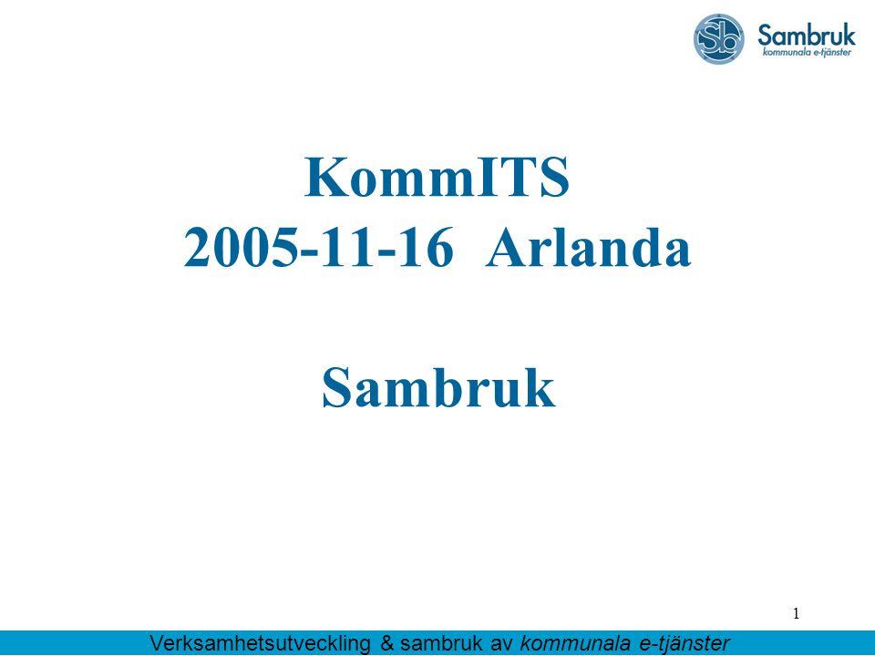 1 KommITS 2005-11-16 Arlanda Sambruk Verksamhetsutveckling & sambruk av kommunala e-tjänster