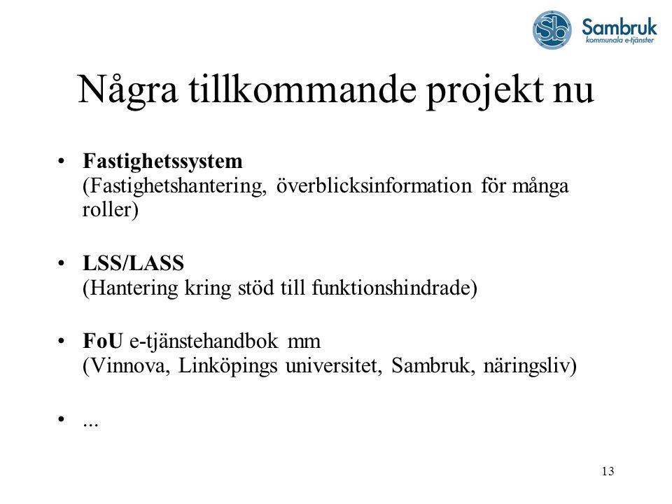 13 Några tillkommande projekt nu Fastighetssystem (Fastighetshantering, överblicksinformation för många roller) LSS/LASS (Hantering kring stöd till fu