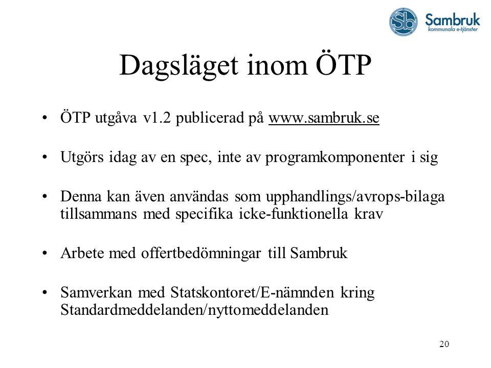 20 Dagsläget inom ÖTP ÖTP utgåva v1.2 publicerad på www.sambruk.se Utgörs idag av en spec, inte av programkomponenter i sig Denna kan även användas so