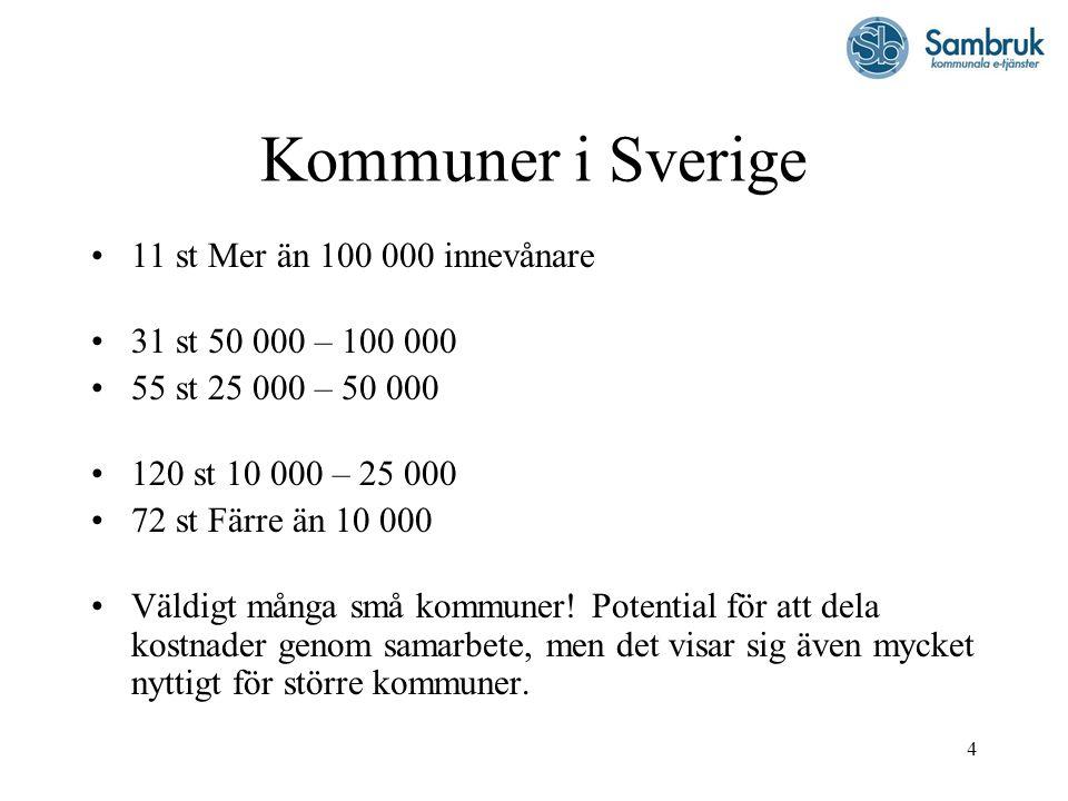 4 Kommuner i Sverige 11 st Mer än 100 000 innevånare 31 st 50 000 – 100 000 55 st 25 000 – 50 000 120 st 10 000 – 25 000 72 st Färre än 10 000 Väldigt