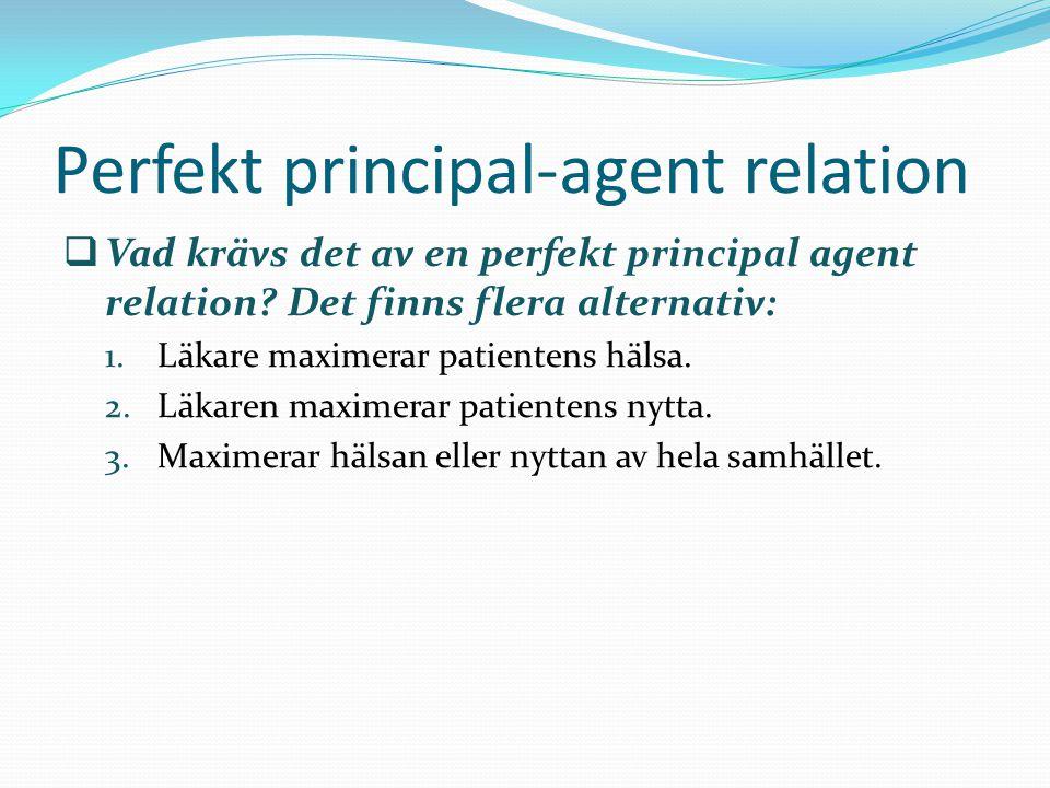 Perfekt principal-agent relation  Vad krävs det av en perfekt principal agent relation? Det finns flera alternativ: 1.Läkare maximerar patientens häl