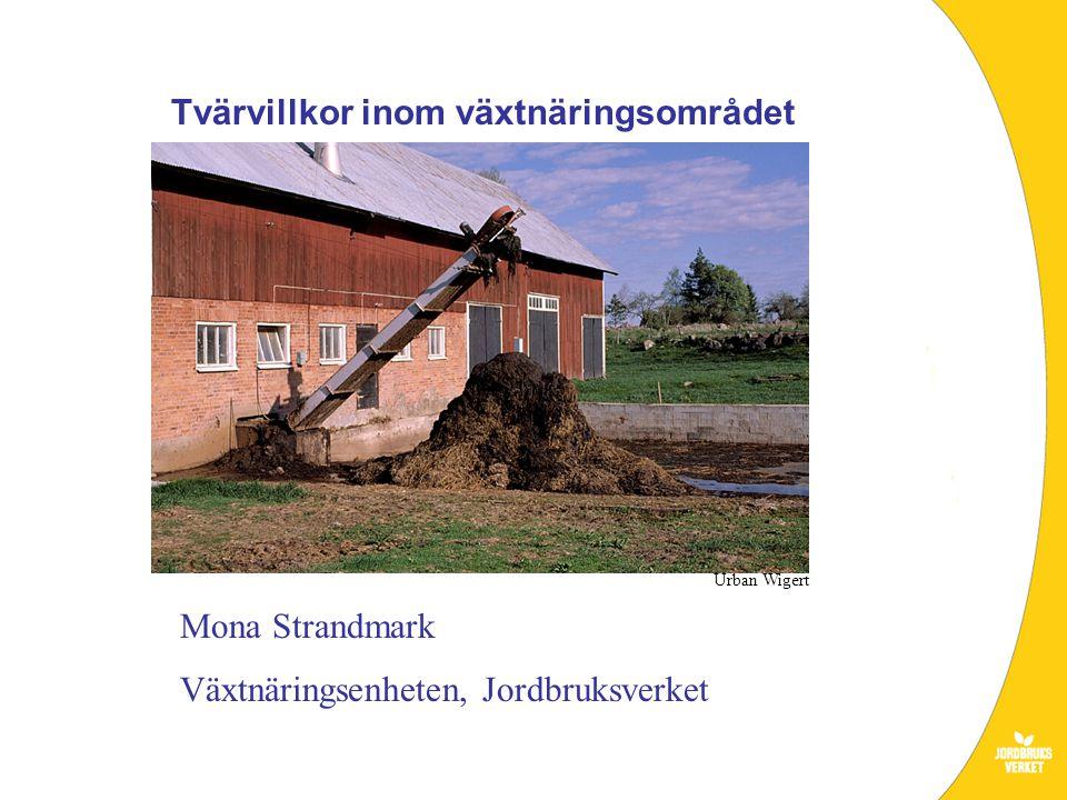 Mona Strandmark Växtnäringsenheten, Jordbruksverket Tvärvillkor inom växtnäringsområdet Urban Wigert