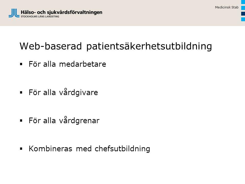 Web-baserad patientsäkerhetsutbildning  För alla medarbetare  För alla vårdgivare  För alla vårdgrenar  Kombineras med chefsutbildning Medicinsk Stab
