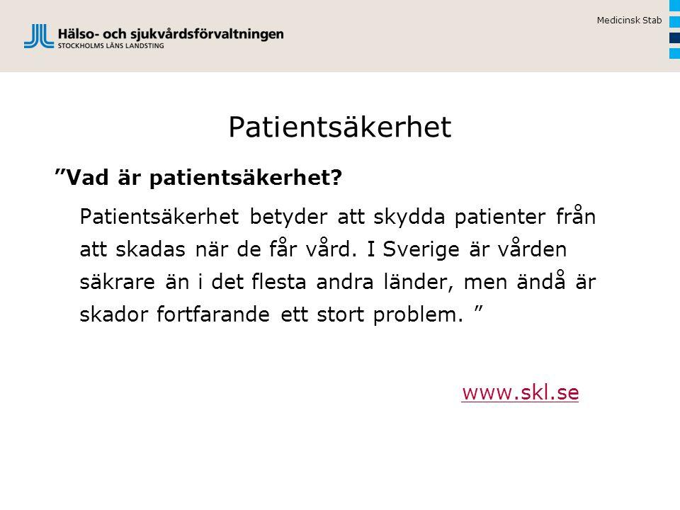 Patientsäkerhet Vad är patientsäkerhet.