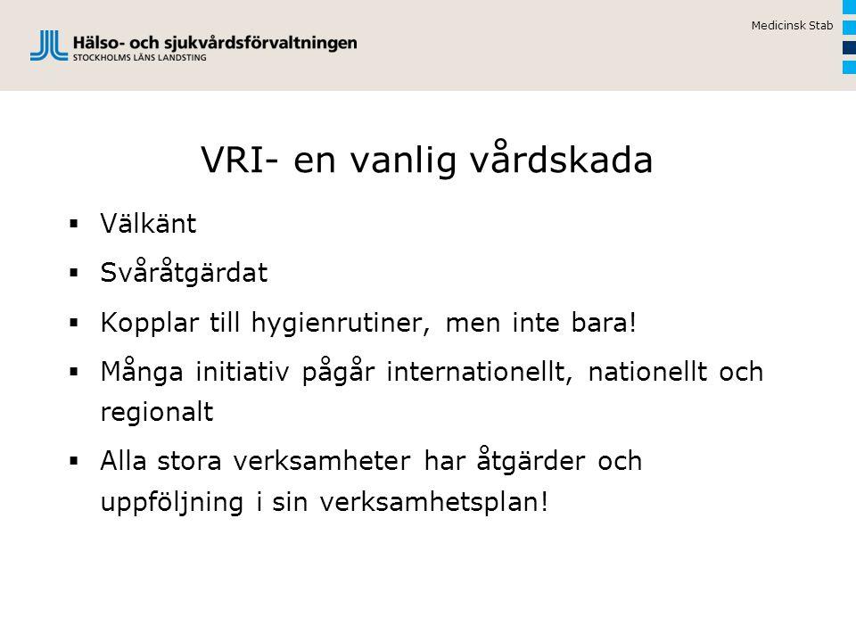 Kostnader för VRI  Extra kostnad för VRI i Sverige 3,7 miljarder (Socialstyrelsen, april 2006)  Förlängd vårdtid, ökad antibiotikaförbrukning  God vårdhygienisk standard kan förebygga åtminstone 20% av VRI  SLL: extra kostnader för VRI uppskattas till 740 mkr årligen, utifrån Socialstyrelsens rapport 2006  SLL: 20% av dessa motsvarar 150 mkr årligen Medicinsk Stab