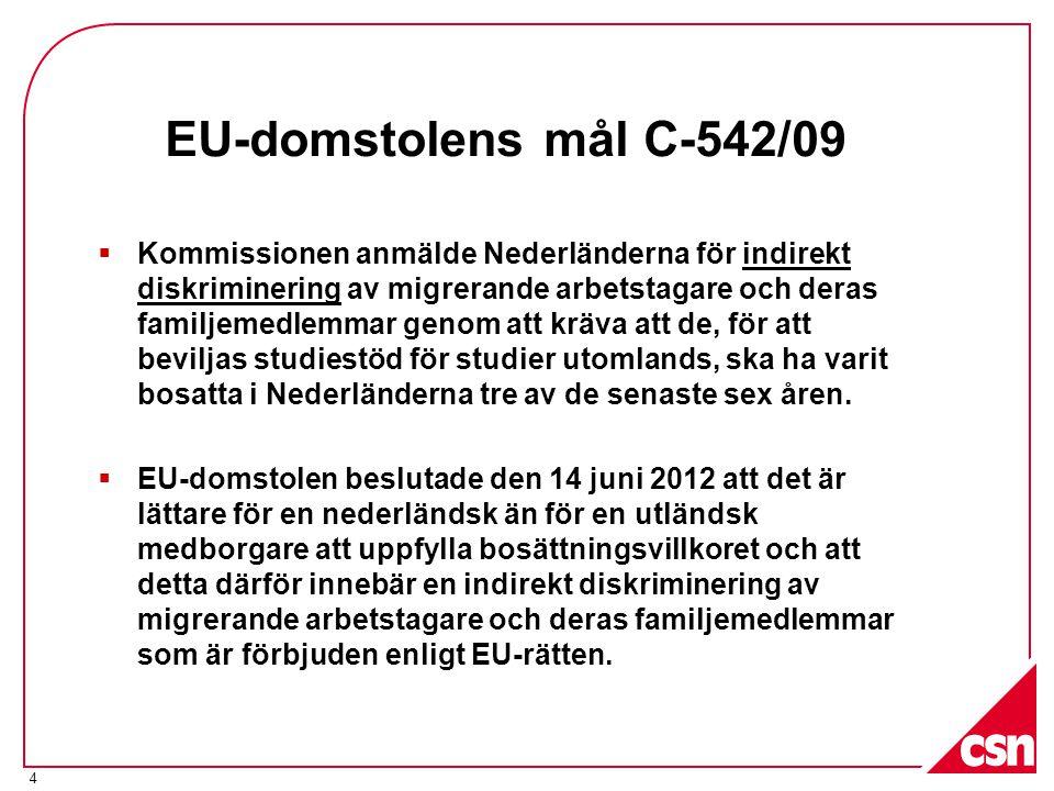 EU-domstolens mål C-542/09  Kommissionen anmälde Nederländerna för indirekt diskriminering av migrerande arbetstagare och deras familjemedlemmar genom att kräva att de, för att beviljas studiestöd för studier utomlands, ska ha varit bosatta i Nederländerna tre av de senaste sex åren.