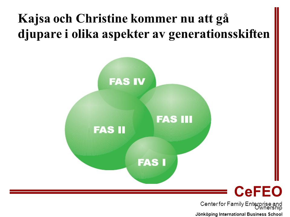 CeFEO Center for Family Enterprise and Ownership Jönköping International Business School Kajsa och Christine kommer nu att gå djupare i olika aspekter av generationsskiften