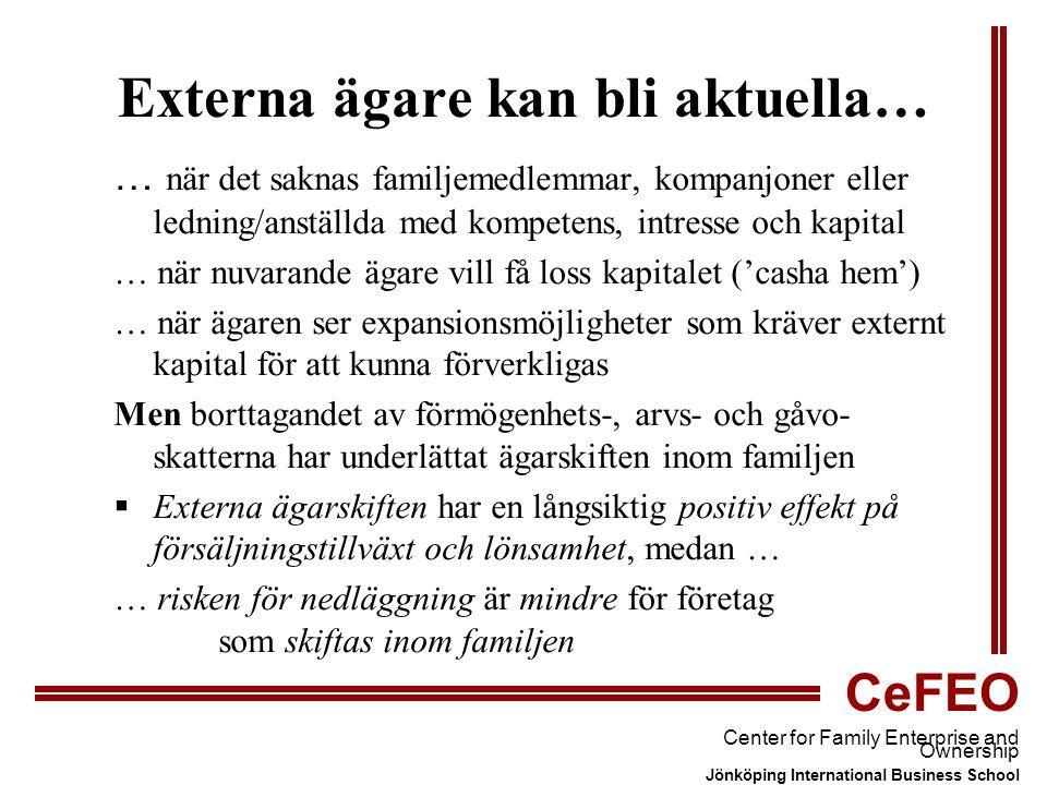 CeFEO Center for Family Enterprise and Ownership Jönköping International Business School Externa ägare kan bli aktuella… … när det saknas familjemedlemmar, kompanjoner eller ledning/anställda med kompetens, intresse och kapital … när nuvarande ägare vill få loss kapitalet ('casha hem') … när ägaren ser expansionsmöjligheter som kräver externt kapital för att kunna förverkligas Men borttagandet av förmögenhets-, arvs- och gåvo- skatterna har underlättat ägarskiften inom familjen  Externa ägarskiften har en långsiktig positiv effekt på försäljningstillväxt och lönsamhet, medan … … risken för nedläggning är mindre för företag som skiftas inom familjen