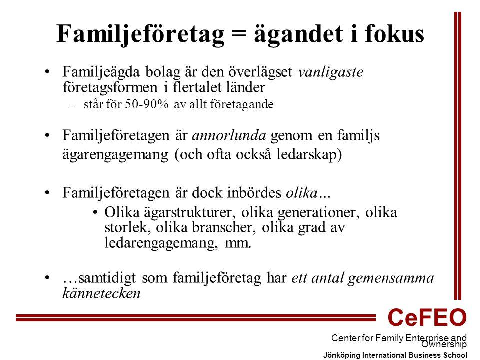 CeFEO Center for Family Enterprise and Ownership Jönköping International Business School Familjeföretag = ägandet i fokus Familjeägda bolag är den överlägset vanligaste företagsformen i flertalet länder –står för 50-90% av allt företagande Familjeföretagen är annorlunda genom en familjs ägarengagemang (och ofta också ledarskap) Familjeföretagen är dock inbördes olika… Olika ägarstrukturer, olika generationer, olika storlek, olika branscher, olika grad av ledarengagemang, mm.