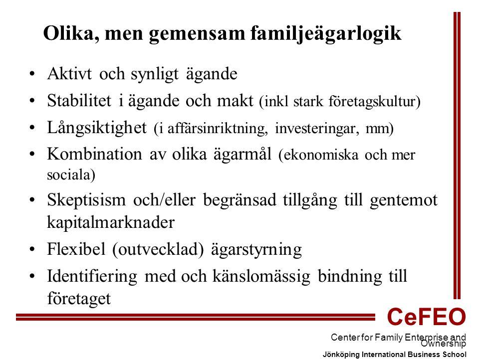 CeFEO Center for Family Enterprise and Ownership Jönköping International Business School Olika, men gemensam familjeägarlogik Aktivt och synligt ägande Stabilitet i ägande och makt (inkl stark företagskultur) Långsiktighet (i affärsinriktning, investeringar, mm) Kombination av olika ägarmål (ekonomiska och mer sociala) Skeptisism och/eller begränsad tillgång till gentemot kapitalmarknader Flexibel (outvecklad) ägarstyrning Identifiering med och känslomässig bindning till företaget