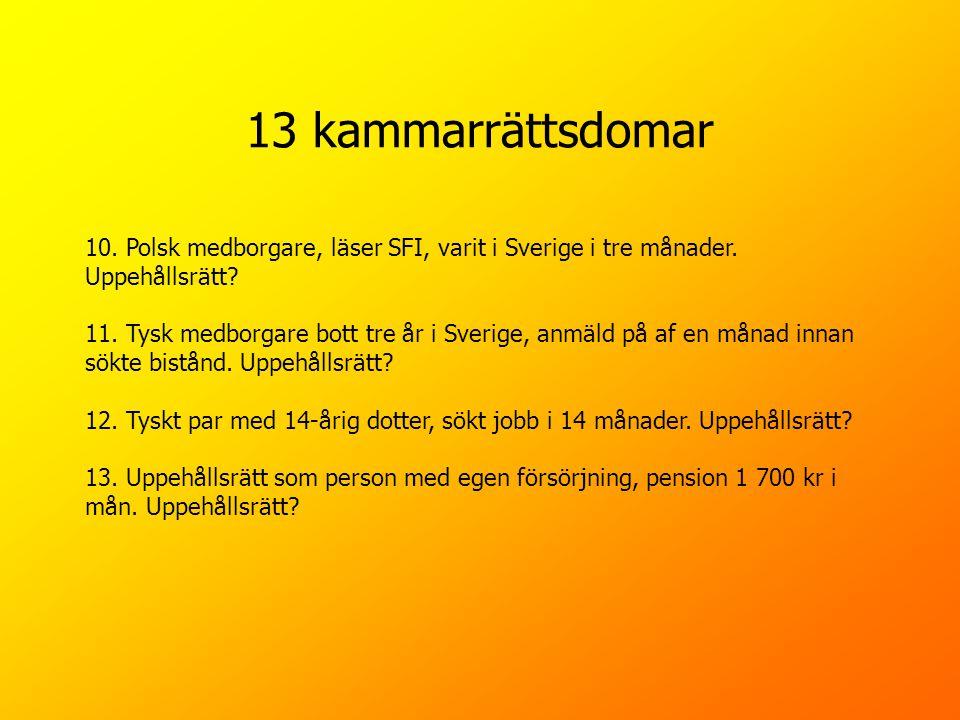 13 kammarrättsdomar 10. Polsk medborgare, läser SFI, varit i Sverige i tre månader. Uppehållsrätt? 11. Tysk medborgare bott tre år i Sverige, anmäld p