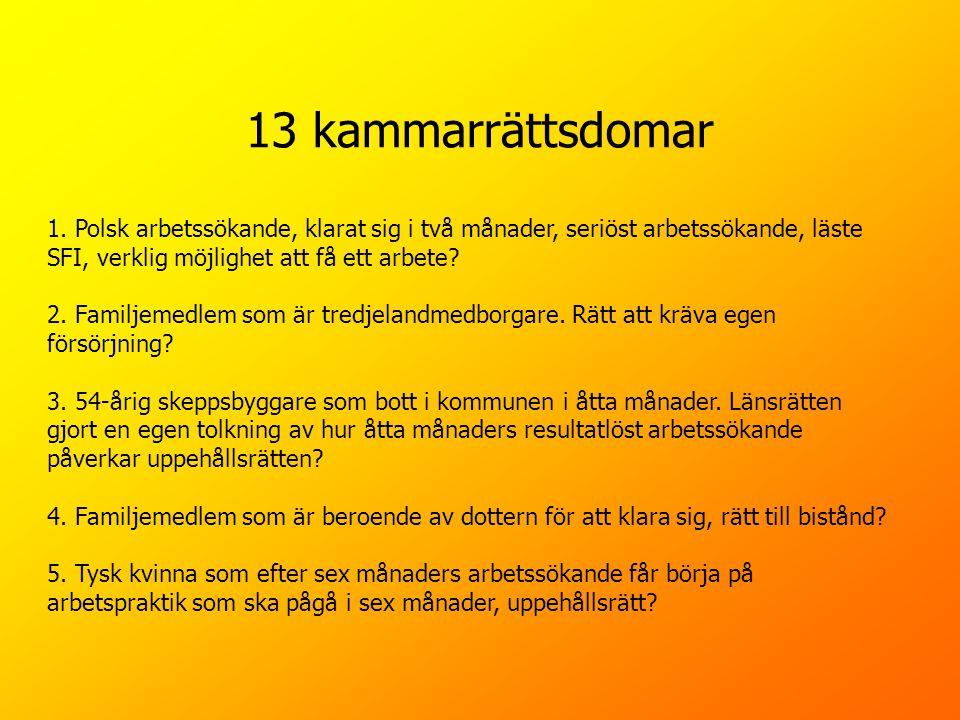 13 kammarrättsdomar 1. Polsk arbetssökande, klarat sig i två månader, seriöst arbetssökande, läste SFI, verklig möjlighet att få ett arbete? 2. Familj