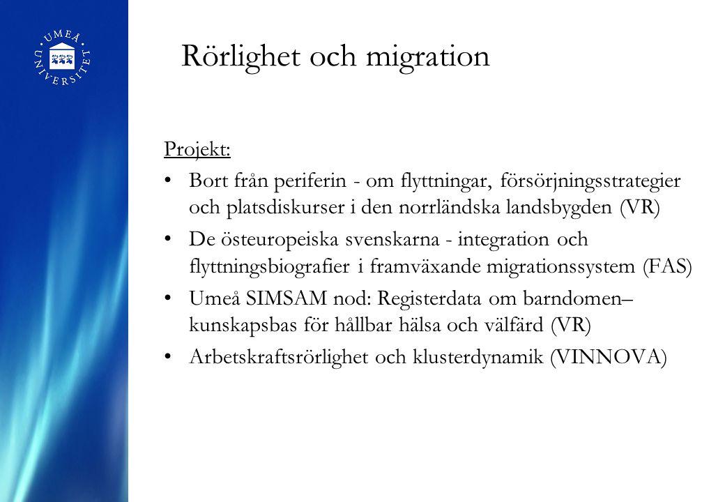 Rörlighet och migration Projekt: Bort från periferin - om flyttningar, försörjningsstrategier och platsdiskurser i den norrländska landsbygden (VR) De