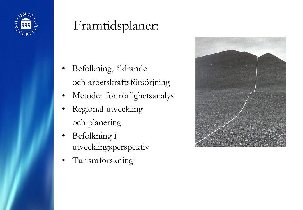 Framtidsplaner: Befolkning, åldrande och arbetskraftsförsörjning Metoder för rörlighetsanalys Regional utveckling och planering Befolkning i utvecklin