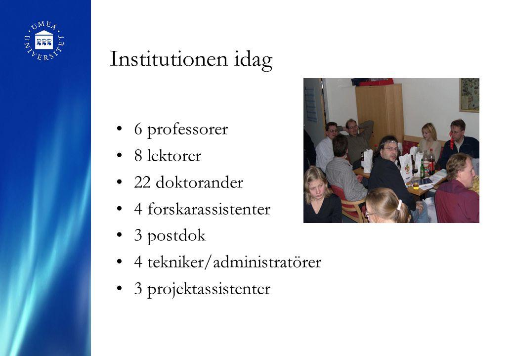 Institutionen idag 6 professorer 8 lektorer 22 doktorander 4 forskarassistenter 3 postdok 4 tekniker/administratörer 3 projektassistenter