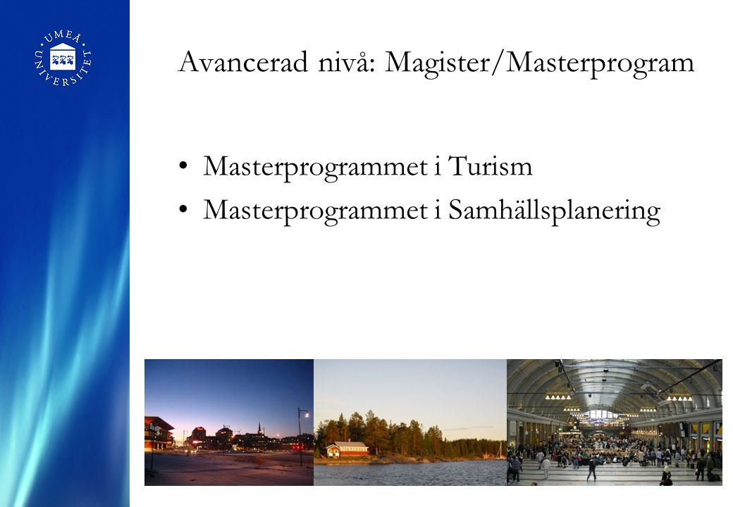 Avancerad nivå: Magister/Masterprogram Masterprogrammet i Turism Masterprogrammet i Samhällsplanering