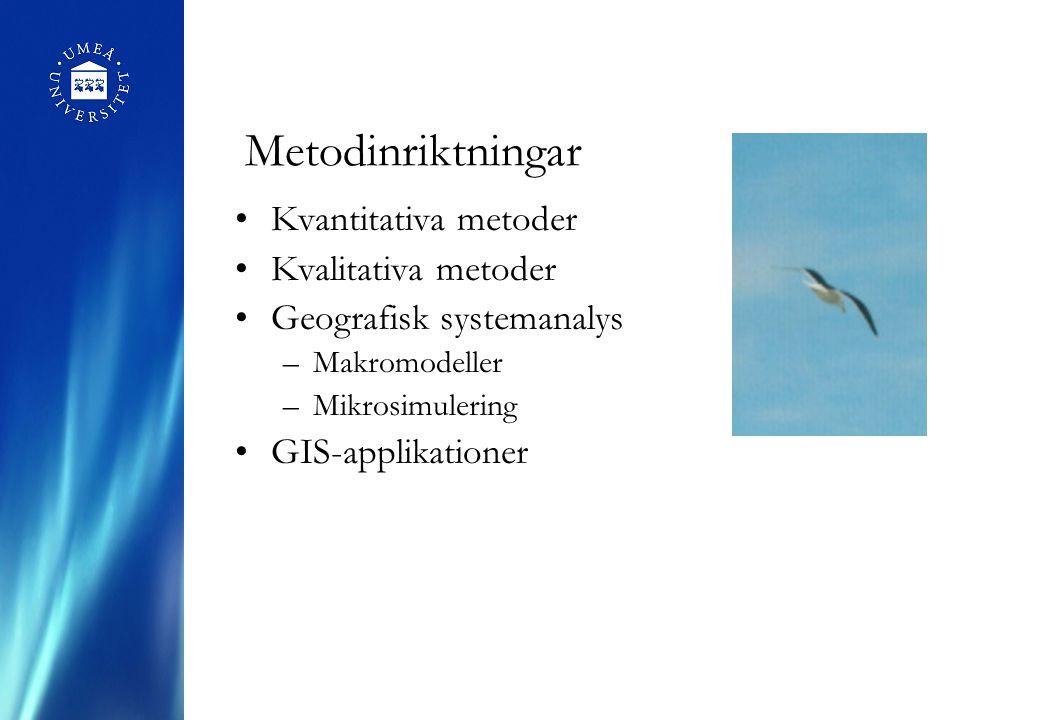 Metodinriktningar Kvantitativa metoder Kvalitativa metoder Geografisk systemanalys –Makromodeller –Mikrosimulering GIS-applikationer