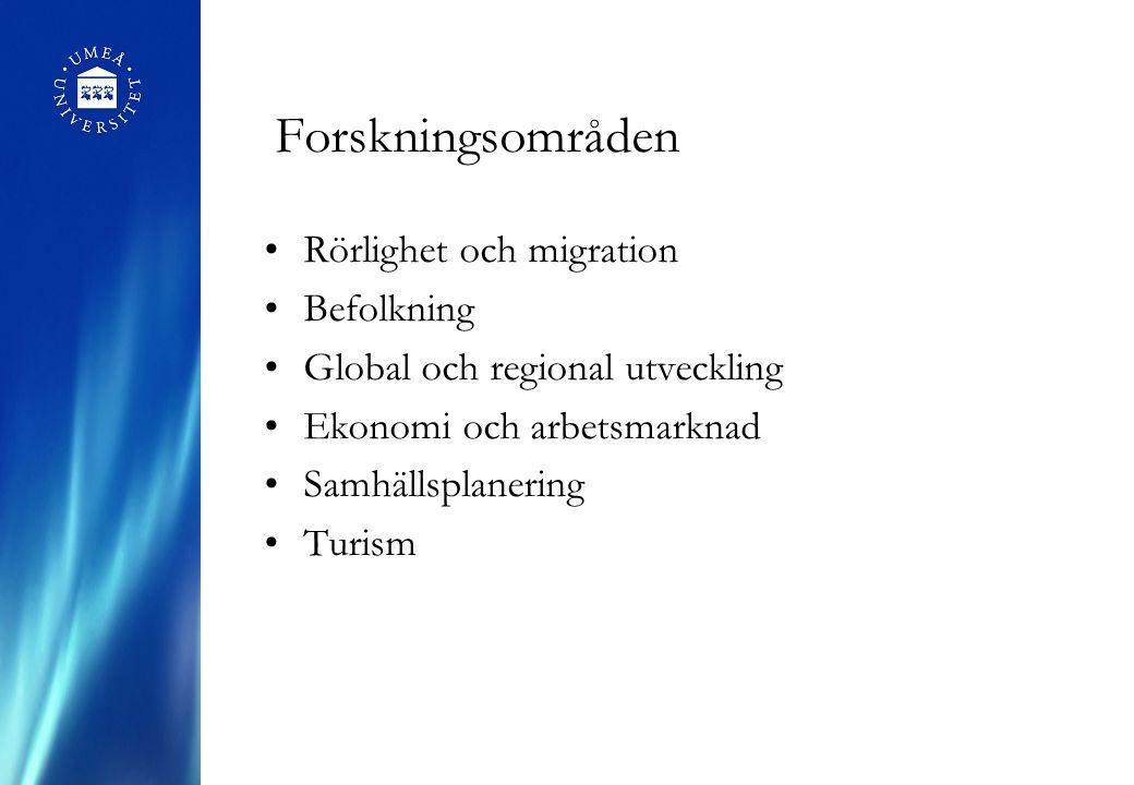 Forskningsområden Rörlighet och migration Befolkning Global och regional utveckling Ekonomi och arbetsmarknad Samhällsplanering Turism