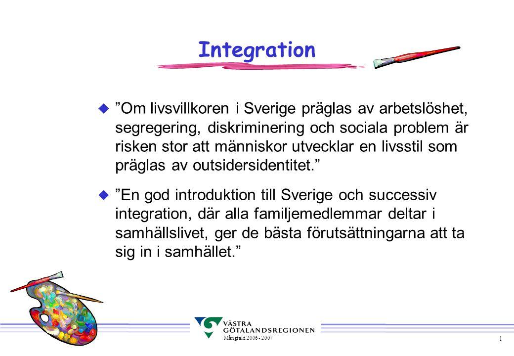 """1 Mångfald 2006 - 2007 Integration u """"Om livsvillkoren i Sverige präglas av arbetslöshet, segregering, diskriminering och sociala problem är risken st"""