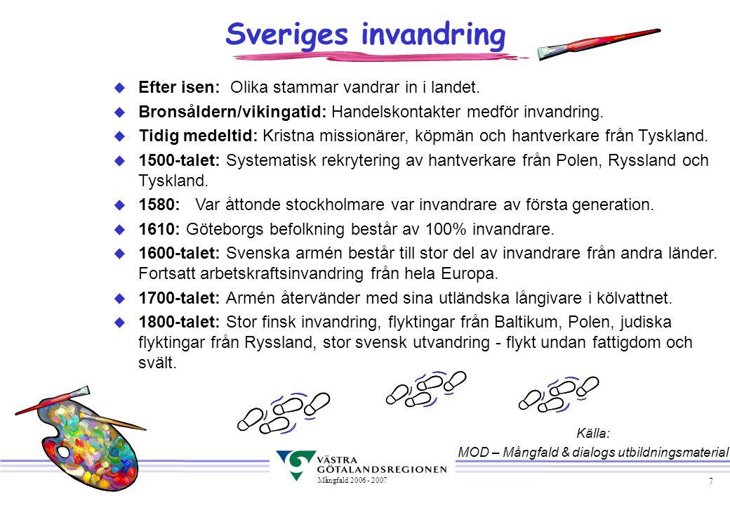 7 Mångfald 2006 - 2007 u Efter isen: Olika stammar vandrar in i landet. u Bronsåldern/vikingatid: Handelskontakter medför invandring. u Tidig medeltid