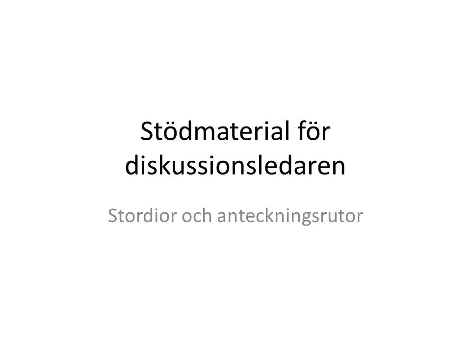 Stödmaterial för diskussionsledaren Stordior och anteckningsrutor