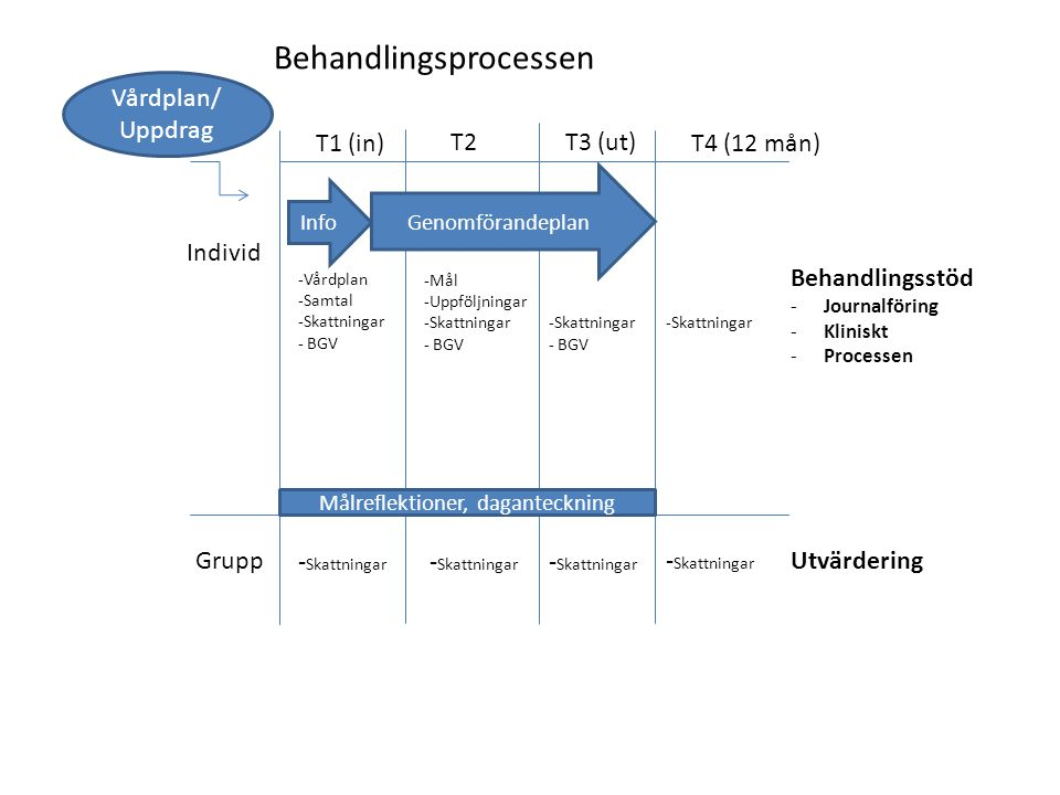 Vårdplan/ Uppdrag T1 (in) T2 T3 (ut) Info Genomförandeplan T4 (12 mån) Individ Grupp Målreflektioner, daganteckning Behandlingsstöd -Journalföring -Kl