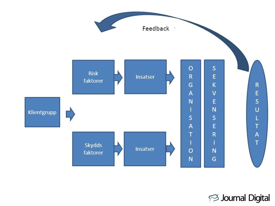 Klientgrupp Risk faktorer Skydds faktorer Insatser ORGANISATIONORGANISATION SEKVENSERINGSEKVENSERING Feedback RESULTATRESULTAT