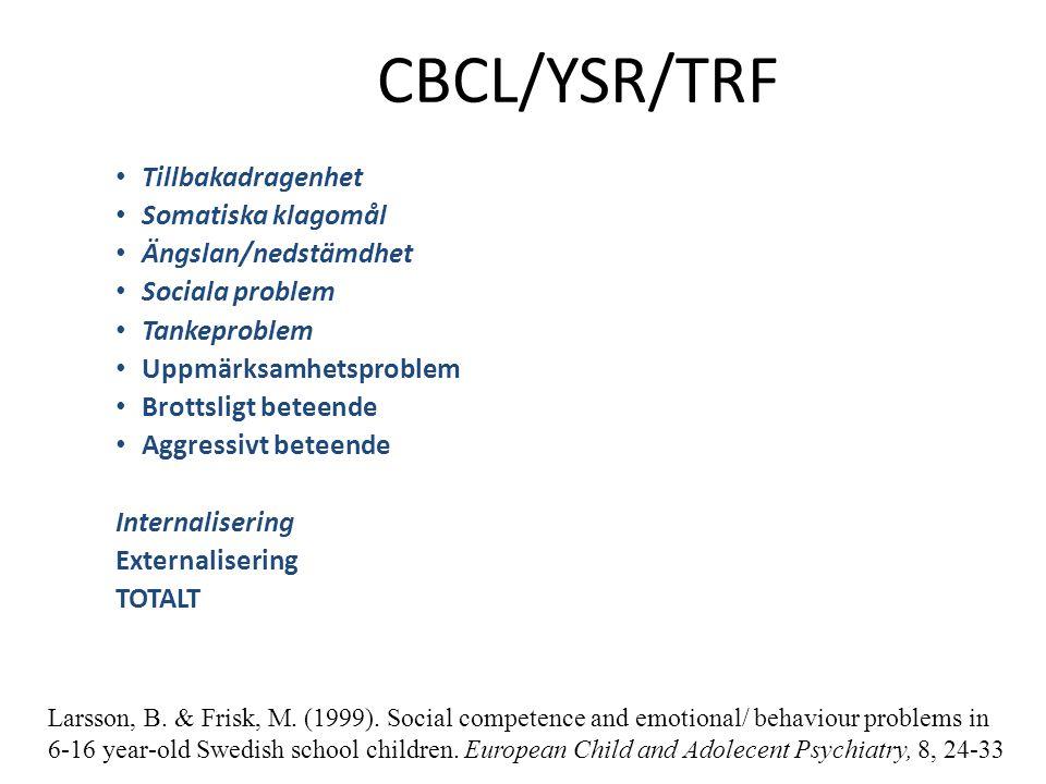 CBCL/YSR/TRF Tillbakadragenhet Somatiska klagomål Ängslan/nedstämdhet Sociala problem Tankeproblem Uppmärksamhetsproblem Brottsligt beteende Aggressiv