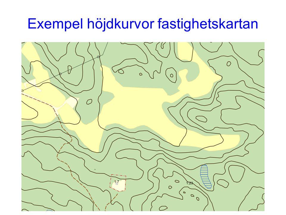 Exempel på mjukgjorda höjdkurvor ur NNH- laserdata utan extra editering. Ekvidistans 1 m
