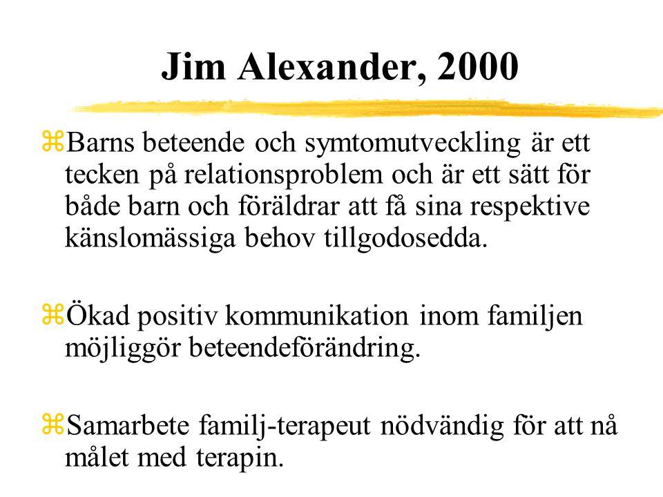Jim Alexander, 2000 zBarns beteende och symtomutveckling är ett tecken på relationsproblem och är ett sätt för både barn och föräldrar att få sina res