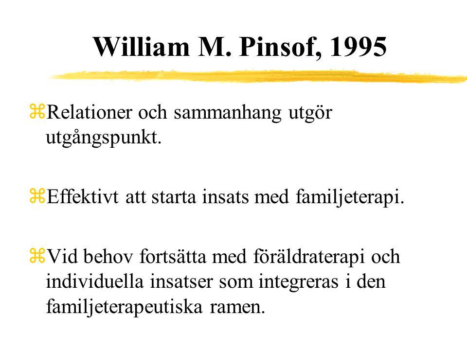 William M. Pinsof, 1995 zRelationer och sammanhang utgör utgångspunkt. zEffektivt att starta insats med familjeterapi. zVid behov fortsätta med föräld