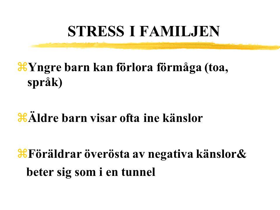 STRESS I FAMILJEN zYngre barn kan förlora förmåga (toa, språk) zÄldre barn visar ofta ine känslor zFöräldrar överösta av negativa känslor& beter sig s