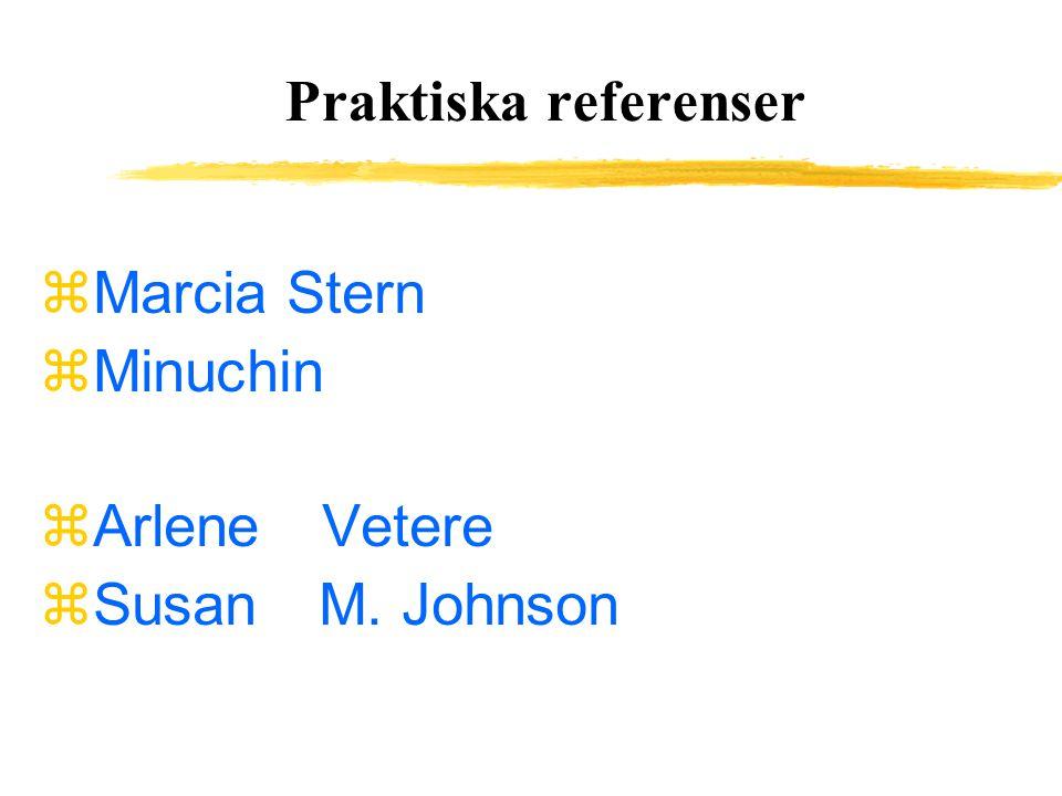 Praktiska referenser  Marcia Stern zMinuchin  Arlene Vetere  Susan M. Johnson