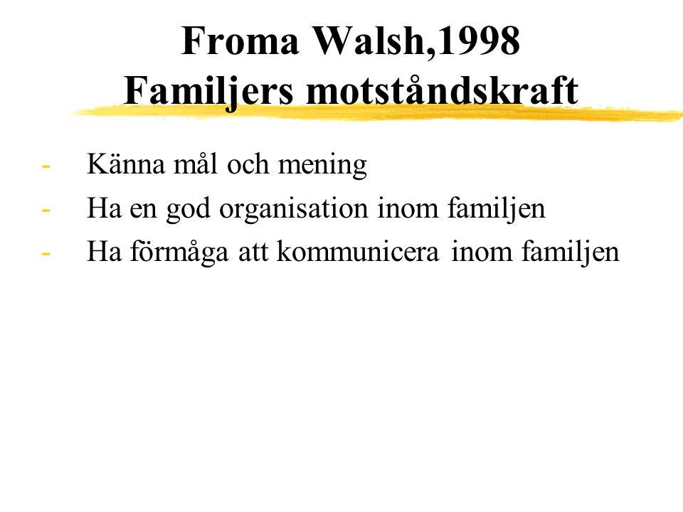Froma Walsh,1998 Familjers motståndskraft -Känna mål och mening -Ha en god organisation inom familjen -Ha förmåga att kommunicera inom familjen