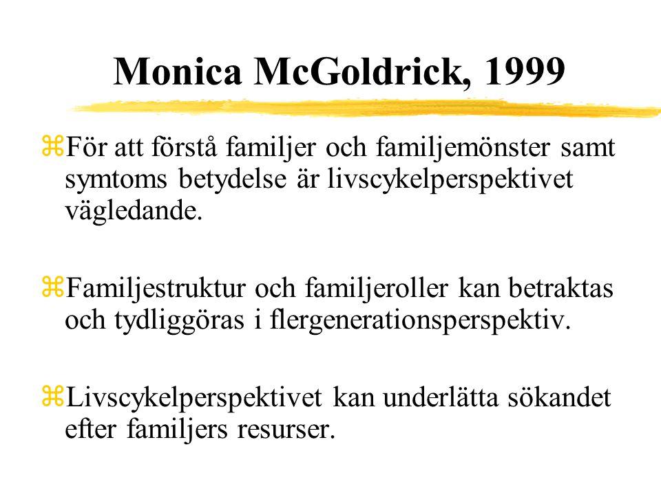 Monica McGoldrick, 1999 zFör att förstå familjer och familjemönster samt symtoms betydelse är livscykelperspektivet vägledande. zFamiljestruktur och f