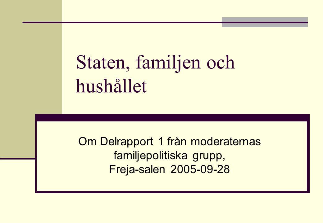 Moderaternas familjepolitiska grupp 200512 Några slutsatser av forskning om familjeförändring under 100 år Familjen har förändrats mer än flertalet institutioner (alltså mer än förvaltningar, bolag, kyrkor, universitet, domstolar, mm.) Familjen har förändrats mer i Norden än i resten av Europa.
