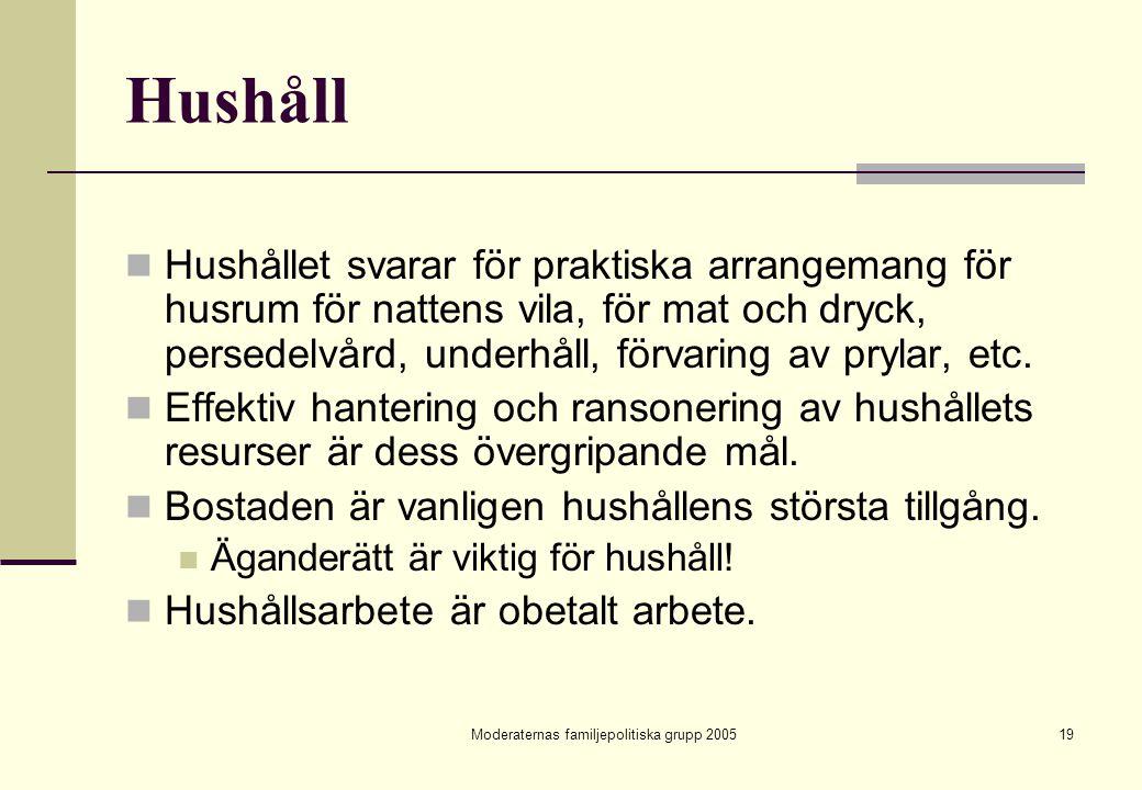Moderaternas familjepolitiska grupp 200519 Hushåll Hushållet svarar för praktiska arrangemang för husrum för nattens vila, för mat och dryck, persedel